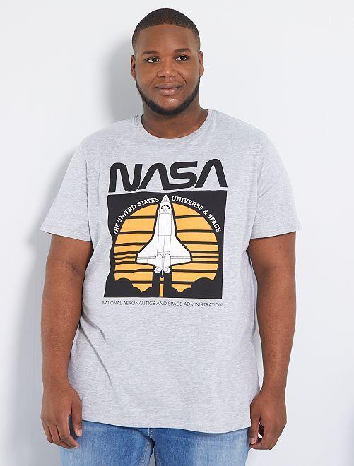 T-shirt 'NASA'                             gris clair chiné