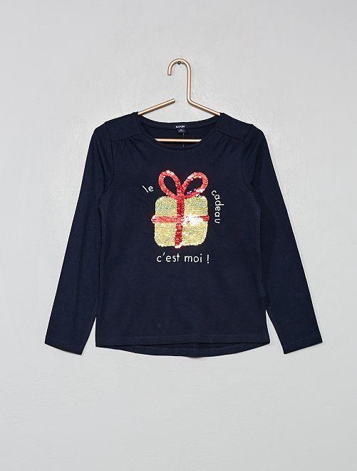 T-shirt 'Noël' à sequins réversibles                                         bleu marine