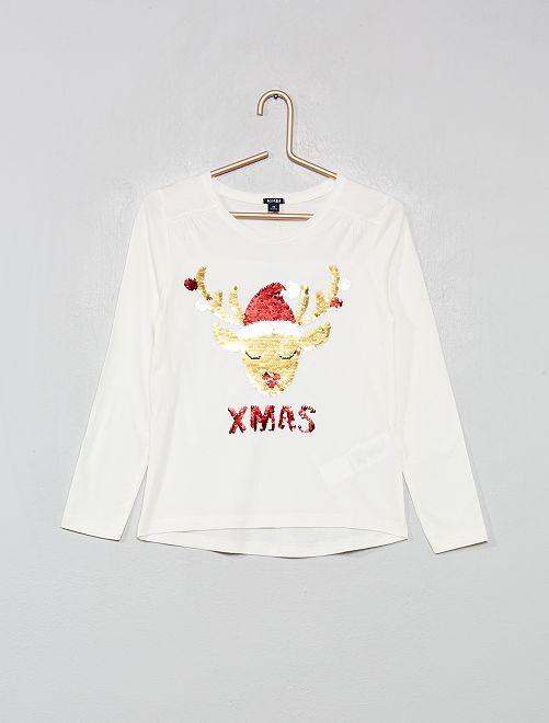 T-shirt 'Noël' à sequins réversibles                                         écru