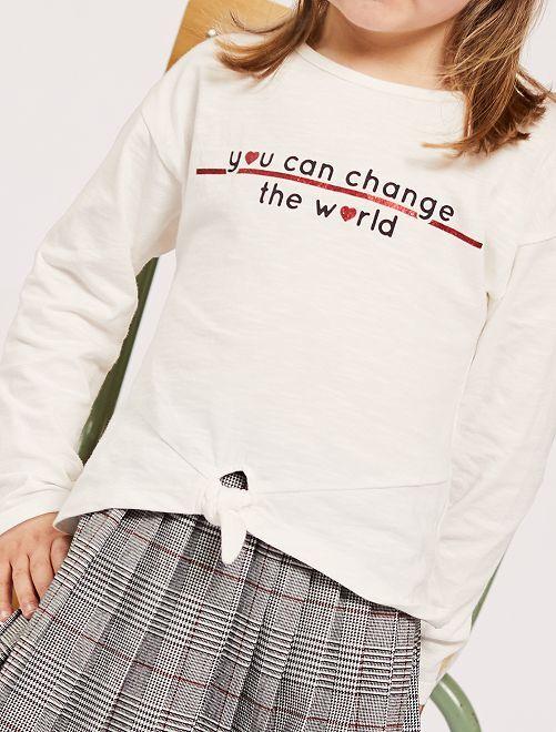 T-shirt noué à message                                         beige