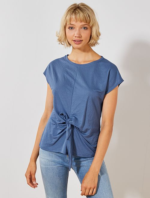 T-shirt noué                                         bleu Femme