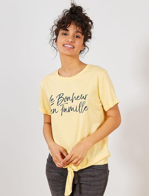 T-shirt noué coton bio                                                     jaune Femme