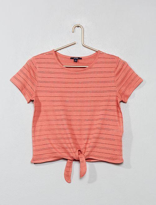 T-shirt noué en maille ajourée                     rose Fille adolescente