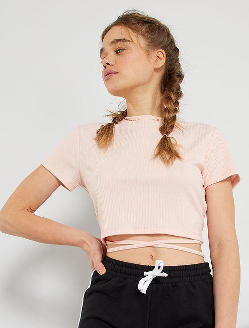 T-shirt ouvert au dos                             rose