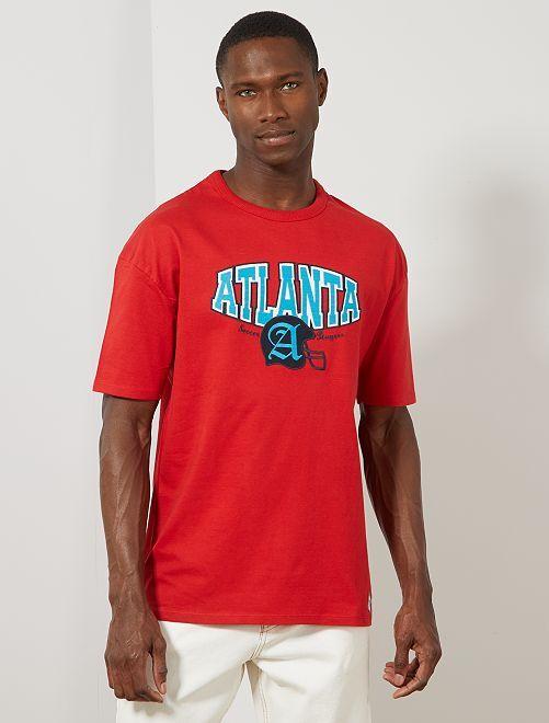 T-shirt oversize brodé                                         rouge