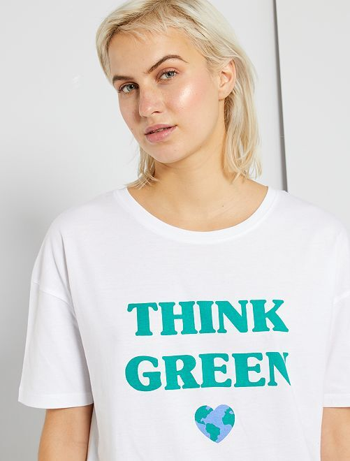T-shirt oversize éco-conçu                                                                                                                 blanc 'green'
