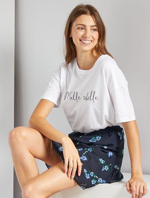 T-shirt oversize éco-conçu                                                                                         blanc 'message'