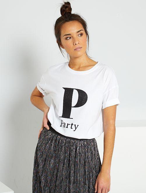 T-shirt oversize éco-conçu                                                                                                                 blanc 'party'