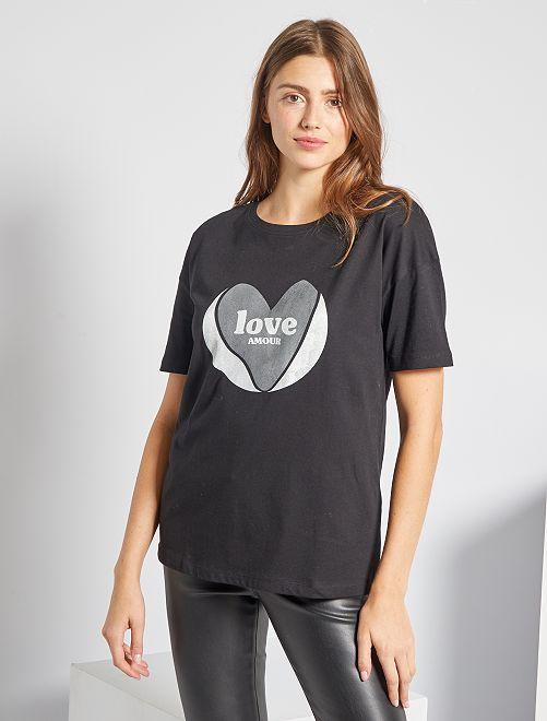 T-shirt oversize éco-conçu                                                                                                     noir 'love'