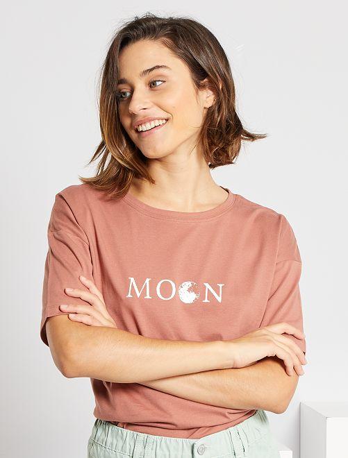 T-shirt oversize éco-conçu                                                                                                                 vieux rose
