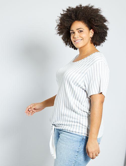 T-shirt oversize gaufré                                 bleu rayé