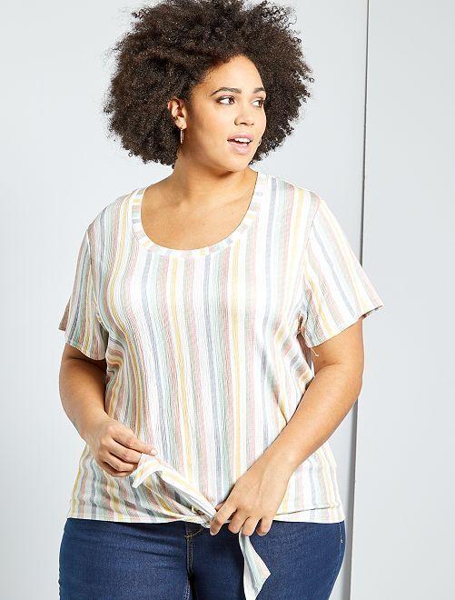 T-shirt oversize gaufré                                                                 rayé multi