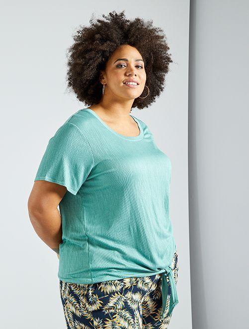 T-shirt oversize gaufré                                                                 vert d'eau