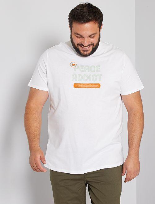 T-shirt 'paix' éco-conçu                             blanc
