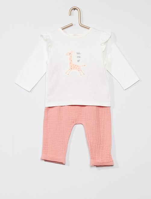 T-shirt + Pantalon 'Girafe' 'éco-conception'                             BLANC