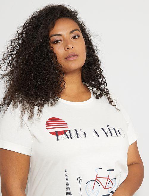 T-shirt 'Paris à vélo'                             blanc