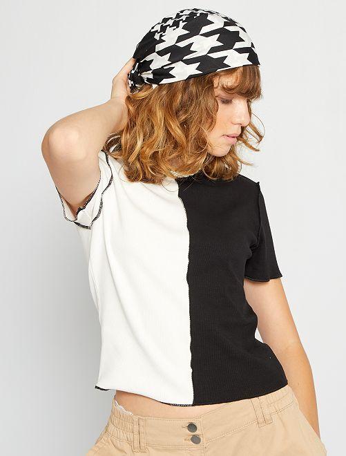 T-shirt patchwork bicolore                                         noir