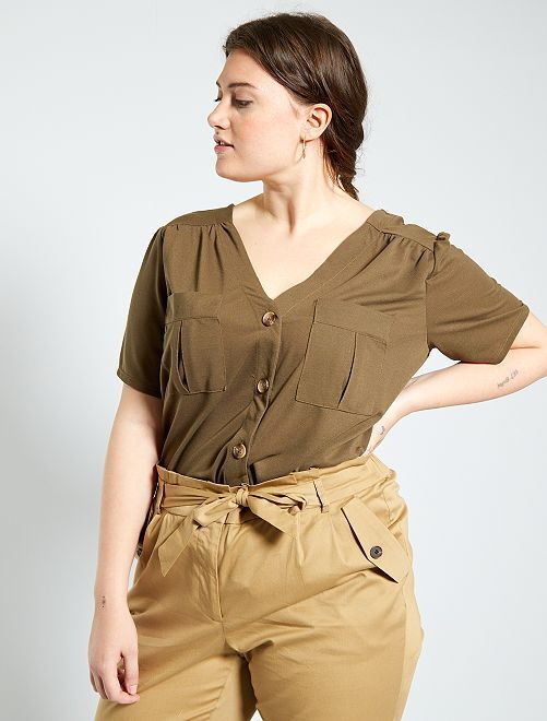 T-shirt patte boutonnée                                         brun