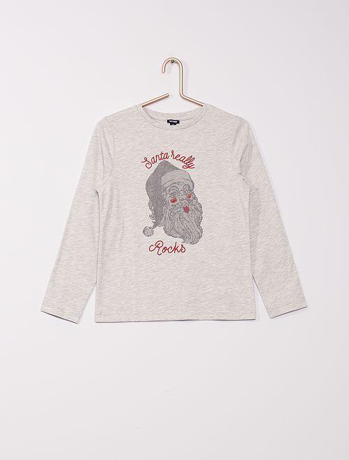 T-shirt 'Père Noël'                             gris
