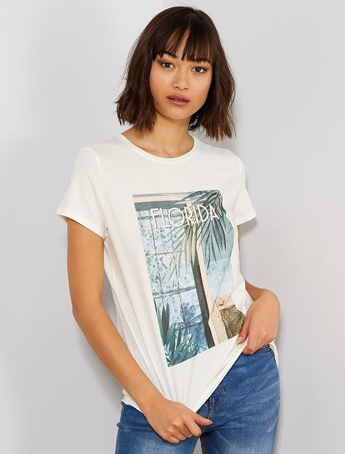 T-shirt photoprint                                                                 écru floride