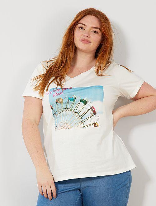 T-shirt photoprint et broderie                             Blanc/bleu
