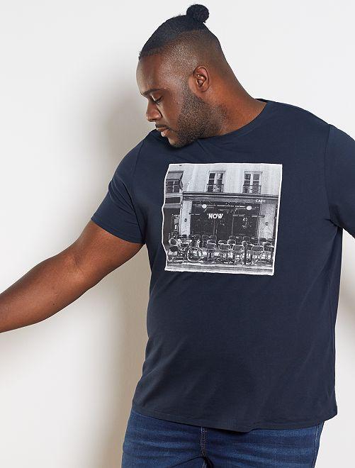 T-shirt photoprint et broderie                                         bleu marine