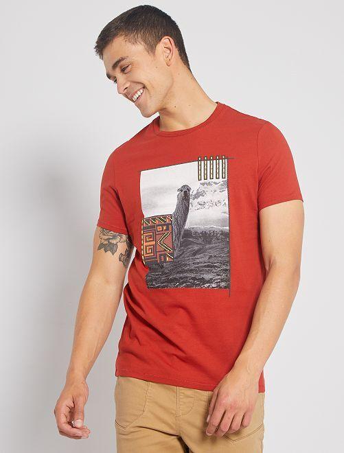 T-shirt photoprint fantaisie                                         orange