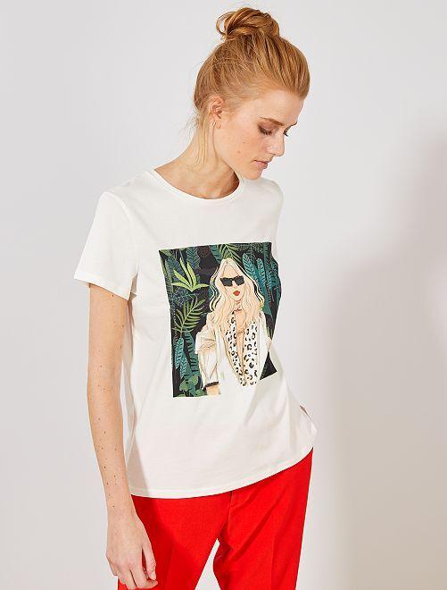 T-shirt photoprint féminin                             blanc cassé Femme
