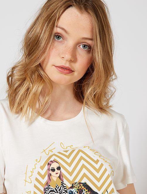 T-shirt photoprint féminin                                 ecru oval