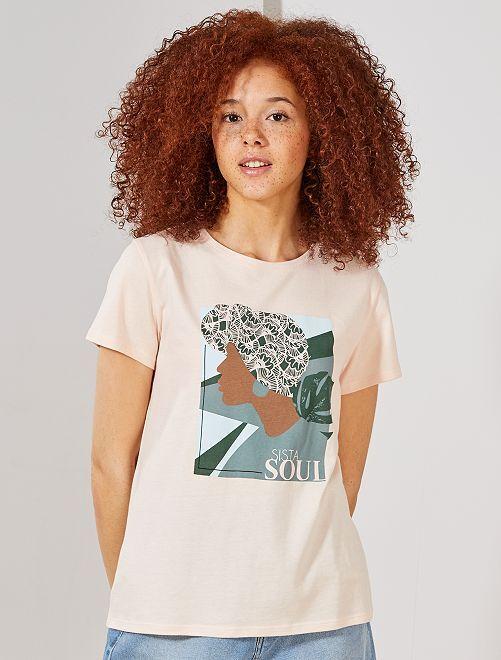 T-shirt photoprint                                                                 rose pâle Femme