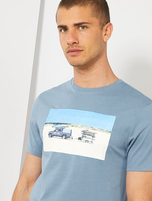 T-shirt photoprint summer                                                                                         bleu gris Homme