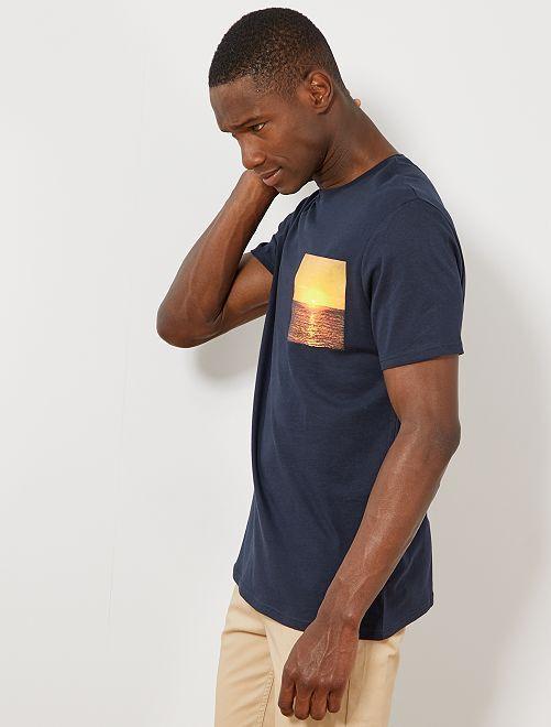 T-shirt photoprint summer                                                                             bleu marine Homme