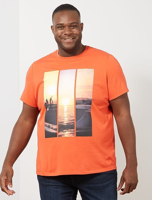T-shirt photoprint summer                                                     corail Grande taille homme
