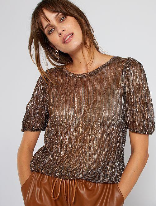 T-shirt plissé doré                             doré