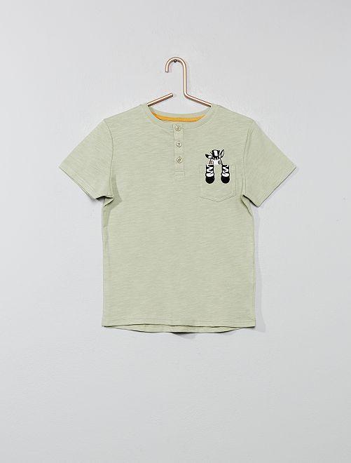 T-shirt poche 'animal'                                 kaki