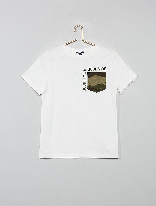 T-shirt poche camouflage                                         blanc