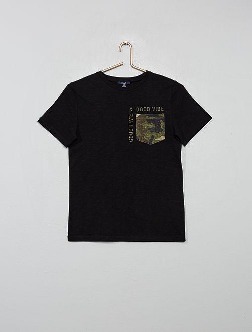T-shirt poche camouflage                                         noir