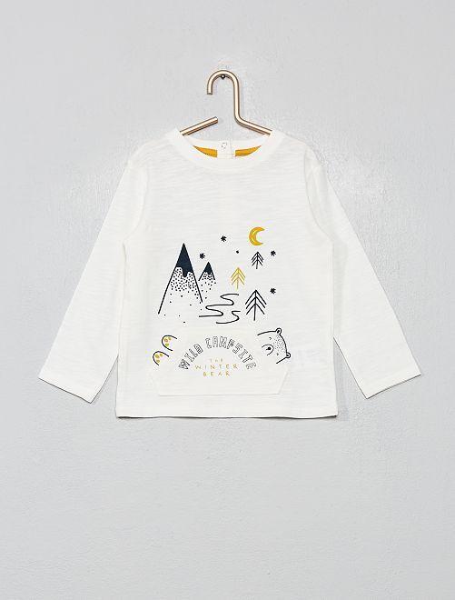 T-shirt poche kangourou                                                     blanc Bébé garçon