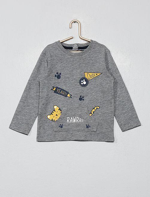 T-shirt poche kangourou                                                     gris Bébé garçon