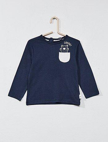 T-shirt poche poitrine animée - Kiabi