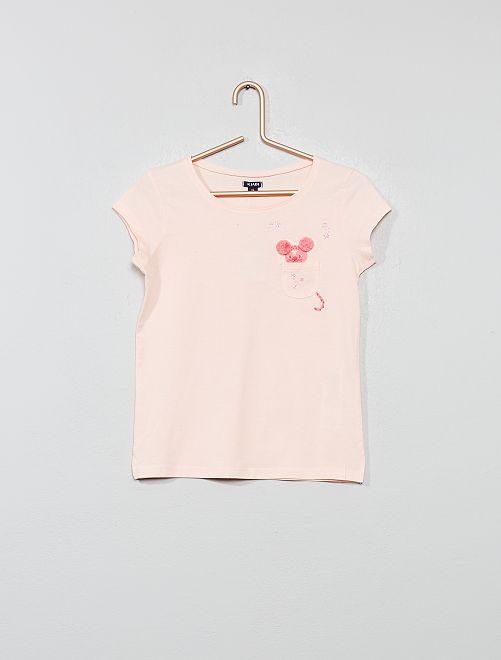 T-shirt poche poitrine 'chat'                                         rose