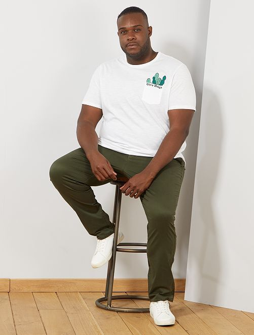 T-shirt poche poitrine imprimée                                         blanc