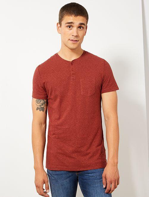 T-shirt poche poitrine                                         rouge brique Homme