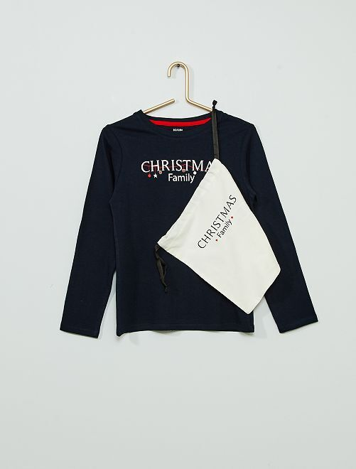 T-shirt + pochon de 'Noël' éco-conçu                                                     marine