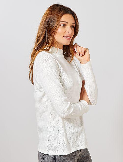 T-shirt pointelle                                         blanc