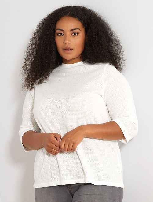 T-shirt pointelle                             blanc Grande taille femme