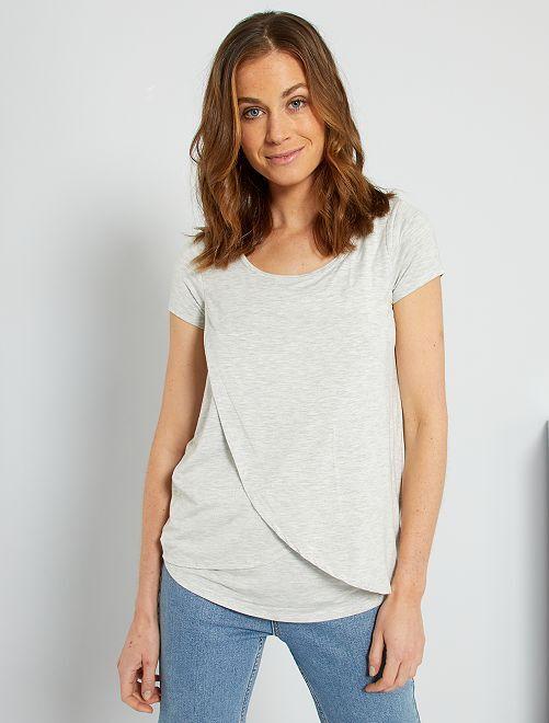 T-shirt pour allaitement                     gris/beige