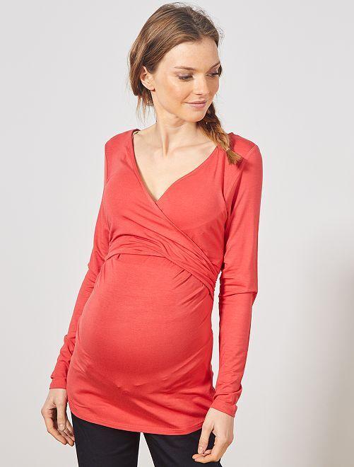 T-shirt pour l'allaitement cache-cœur                                                                             rouge cerise