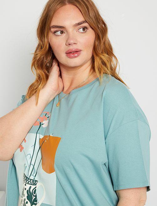 T-shirt print                             bleu