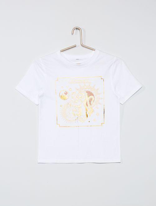 T-shirt print doré 'Harry Potter'                             blanc